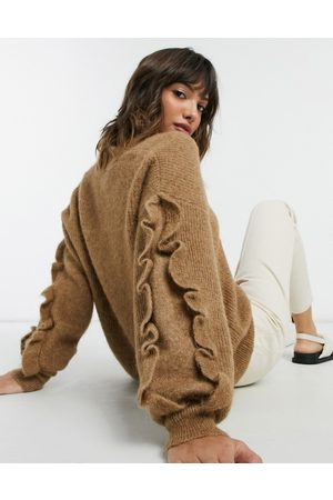 Selected Femme v-neck jumper with ruffle sleeve in brown