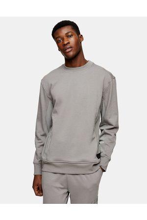 Topman LTD panel sweatshirt in charcoal grey