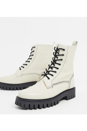 ASRA Exclusive Billie lace up flat boots with stitch detail in bone leather-Cream