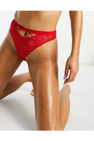 We Are We Wear Eco lace ring detail high-waist lingerie thong in red