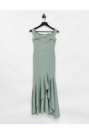 Little Mistress Bardot fishtail bridesmaid dress in sage green