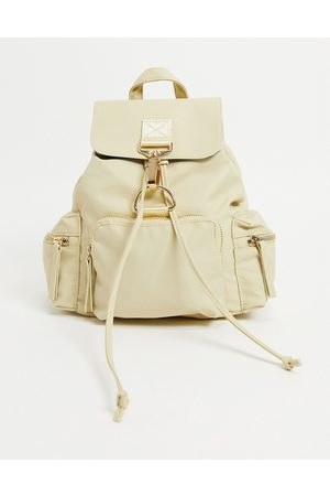 ASOS Backpack with dog clip detail in -Neutral