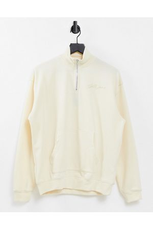 Sixth June Unisex relaxed high-neck zip-up sweatshirt in stone co-ord-Beige