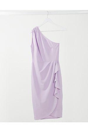 Lipsy London One shoulder ruffle pencil dress in purple