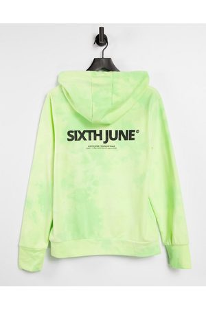 Sixth June Unisex oversized hoodie in lime wash with chest logo co-ord-Green