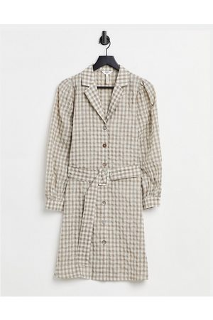Object Shirt dress with self belt in gingham print-Multi