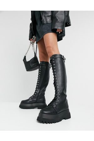 ASOS Camera chunky lace up knee boots in black