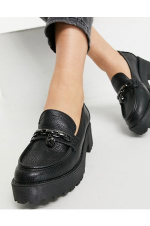 London Rebel Chunky loafers with chain padlock detail in black