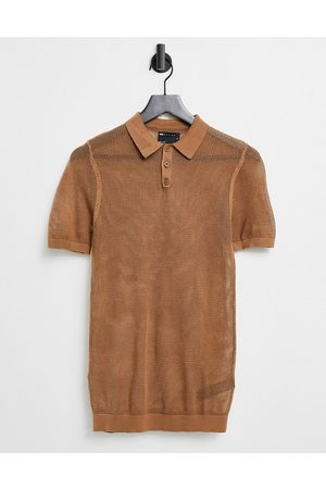 ASOS Knitted muscle fit mesh polo t-shirt in tan