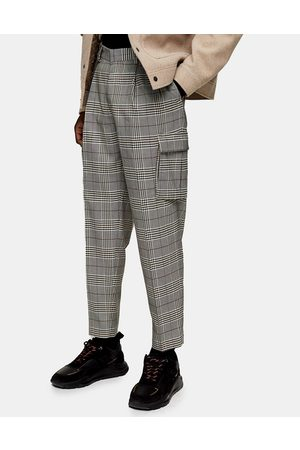 Topman Check cargo tapered pants in grey-Multi