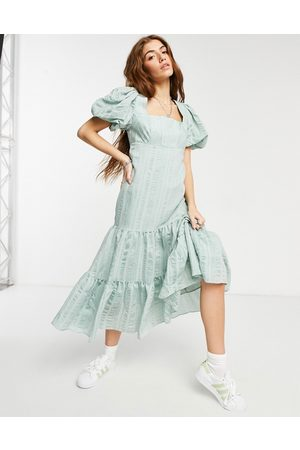 Forever New Puff sleeve square neck midaxi smock dress with bow back in soft mint-Green