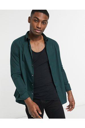 River Island Long-sleeved poplin shirt in green