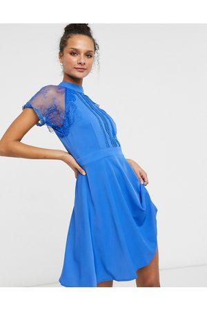 Liquorish A-line lace detail mini dress in blue