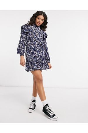 ONLY Co-ord mini skirt with pephem in purple and blue -Multi