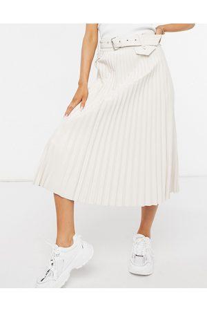 Morgan Pleated midi skirt in cream