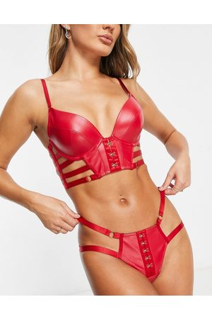 Hunkemöller Vicky faux leather thong in red