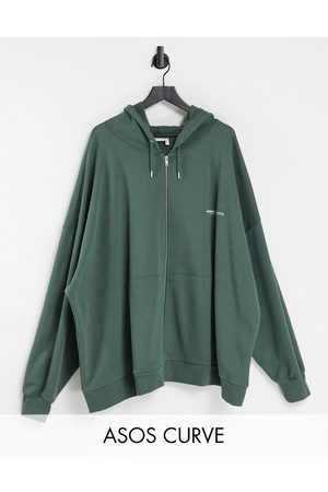 ASOS Weekend Collective Curve co-ord oversized zip-thorugh hoodie with logo in khaki-Green