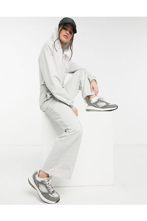 ASOS Tracksuit zip-through cropped hoodie / straight leg trackies with pintuck in grey