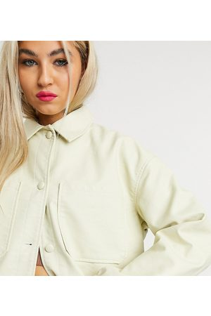 COLLUSION Faux leather shacket in ecru-Beige