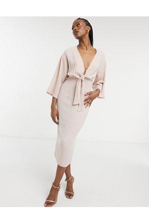 ASOS Tie-front midi pencil dress in pink