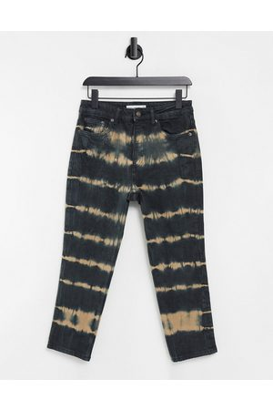 Topshop Tie dye straight leg jeans in black