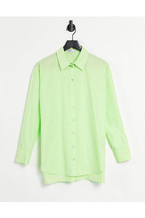 Bershka Oversized poplin shirt in lime green