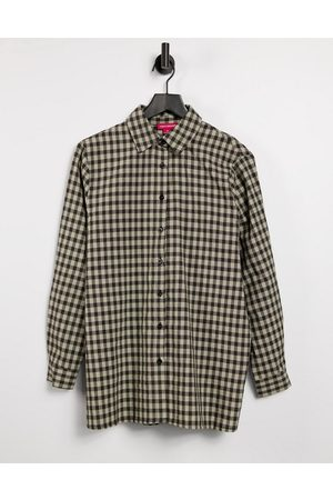 Urban Threads Oversized checked shirt in black and white