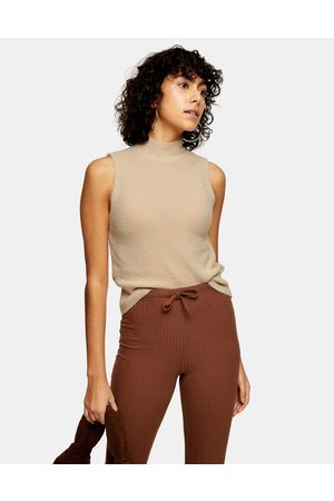 Topshop Knitted sleeveless funnel-neck top in natural-Stone
