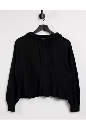 Vero Moda Knitted hoodie with ruffle trims in black