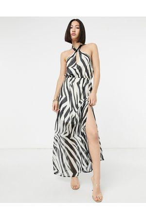 Lipsy London Halterneck maxi dress in zebra stripe-Multi