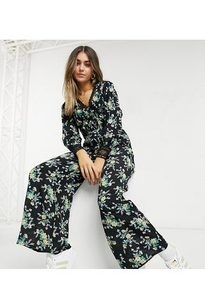 Reclaimed Vintage Inspired jumpsuit with lace panel detail in floral print-Black