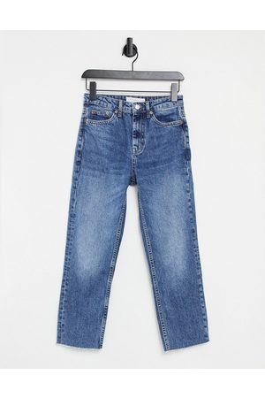 Topshop Straight jeans in mid wash blue