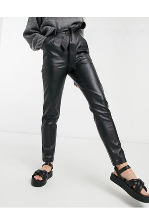 Morgan Faux leather belted relaxed fit pants in black