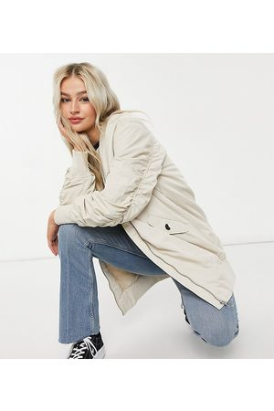 Only Longline bomber jacket with ruched sleeves in stone-Beige