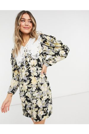 Object Floral dress with collar-Multi