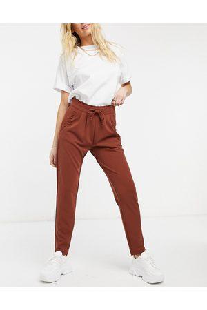 JDY Catia fold up tailored slim pants in cherry mahogany