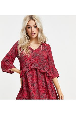 Vero Moda Smock dress with frill sleeve in red abstract print-Multi