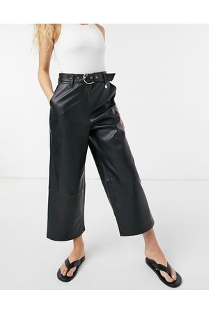 River Island Faux leather belted wide leg culotte pants in black