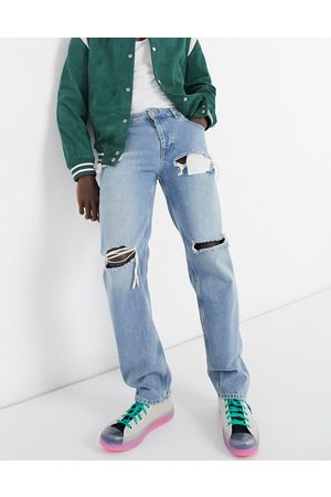 ASOS Original fit jeans in stone wash with heavy rips-Blue