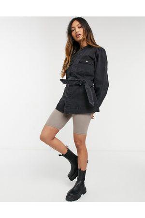 Vero Moda Belted denim jacket with drop sleeves in black
