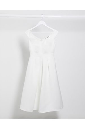 Little Mistress Bridal midi prom dress in off white