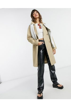 Selected Femme double-breasted trench coat in beige