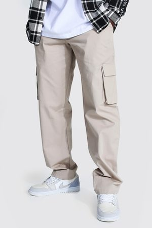 Boohoo Mens Stone Relaxed Fit Cargo Chino trousers