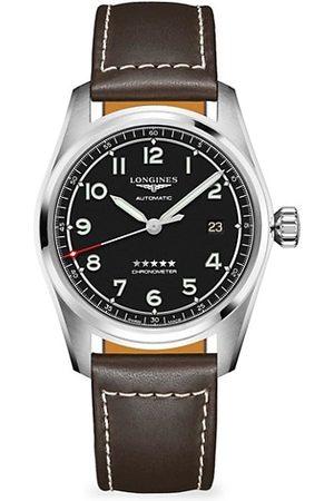 Swatch Men Watches - Longines Spirit Stainless Steel & Leather-Strap Watch
