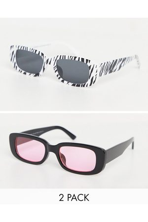 SVNX 2 pack mid rectangle sunglasses in black with pink lens and black and white zebra print-Multi