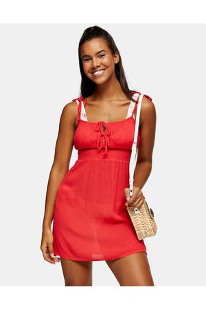 Topshop Ruched front mini beach dress in red