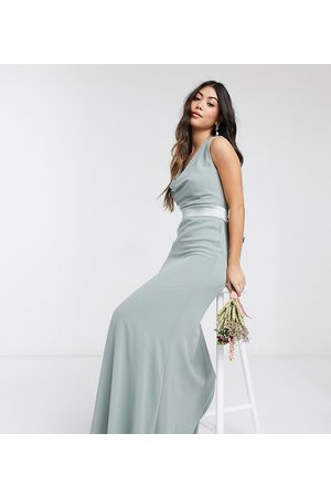 TFNC Bridesmaid cowl neck bow back maxi dress in -Green