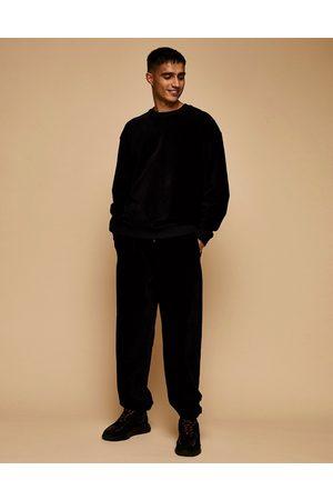 Topman Co-ord cord sweatshirt in black