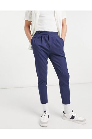 ASOS Tapered smart pants in navy crinkle cotton linen