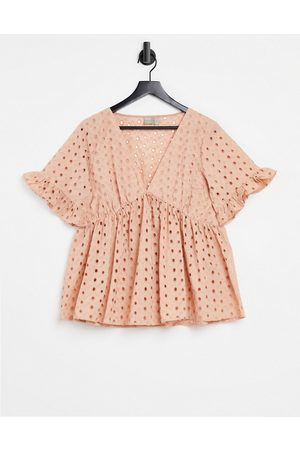 ASOS Broderie smock top with fluted sleeve in mink-Pink